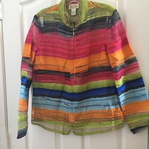 Ladies sheer zip front renaissance jacket small